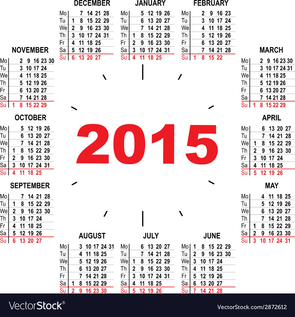 Office calendar 2015 hours vector | Price: 1 Credit (USD $1)