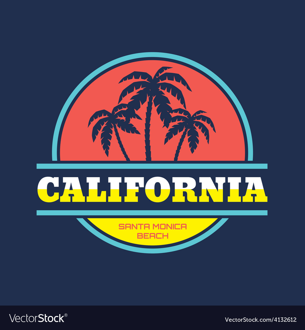 Santa monica - beach vacation - badge vector | Price: 1 Credit (USD $1)