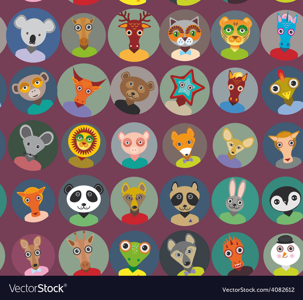 Seamless pattern animals faces circle icons set in vector | Price: 1 Credit (USD $1)