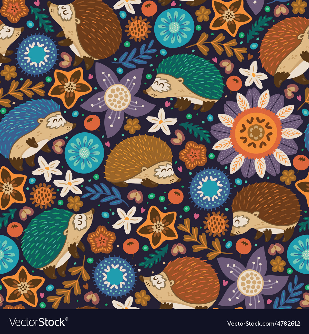 Seamless pattern with hedgehogs and floral vector | Price: 1 Credit (USD $1)