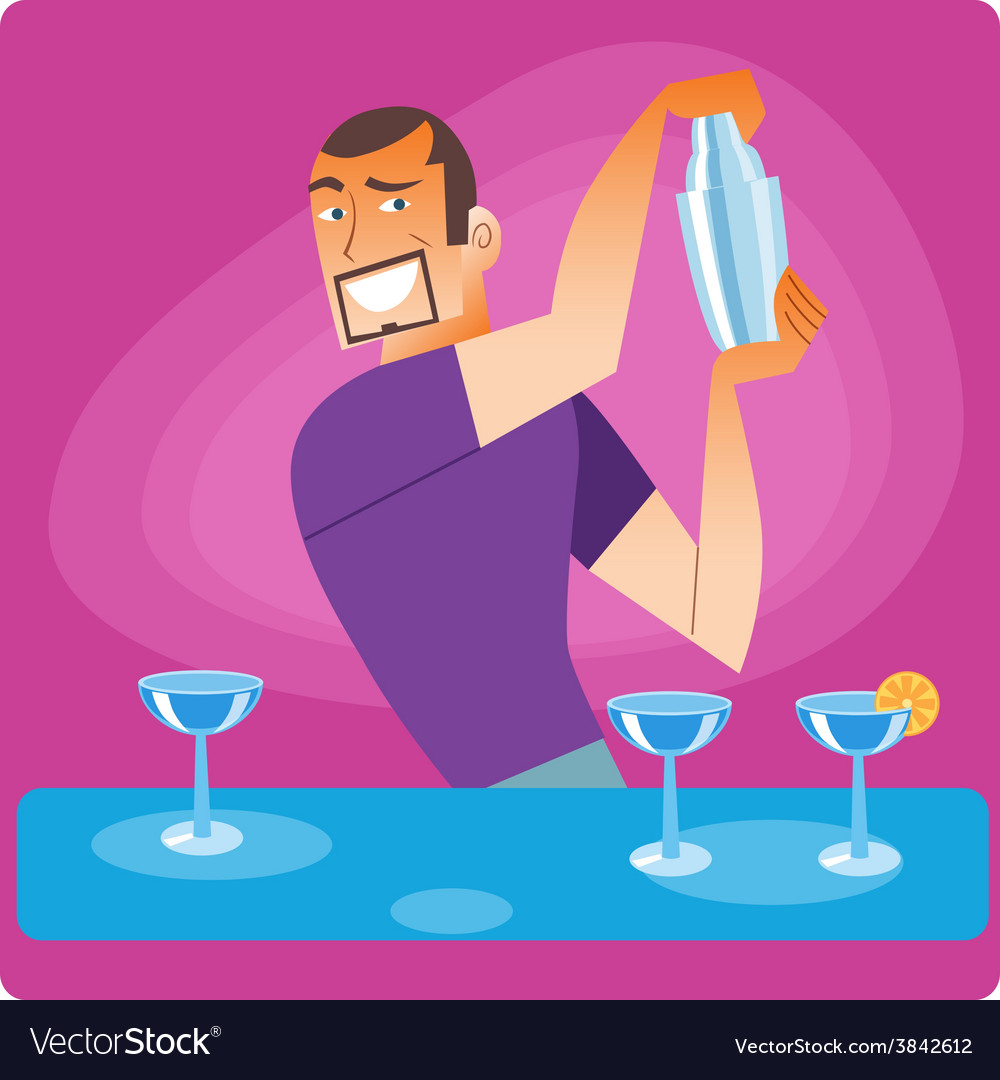 Stylish bartender prepares a cocktail vector | Price: 1 Credit (USD $1)