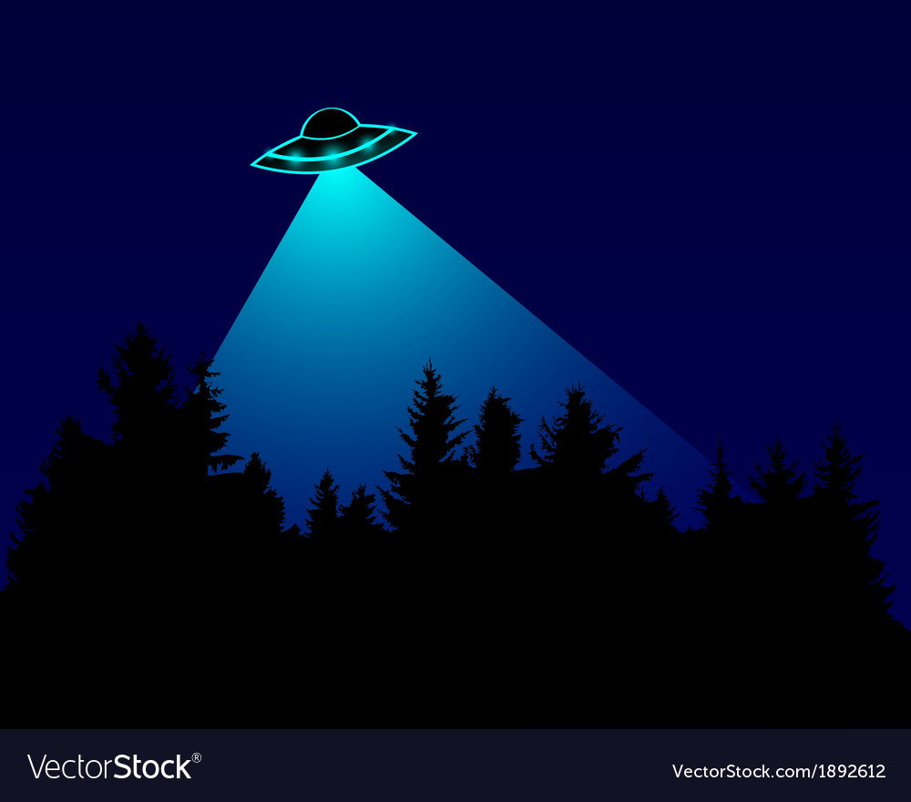 Ufo over the forest vector | Price: 1 Credit (USD $1)