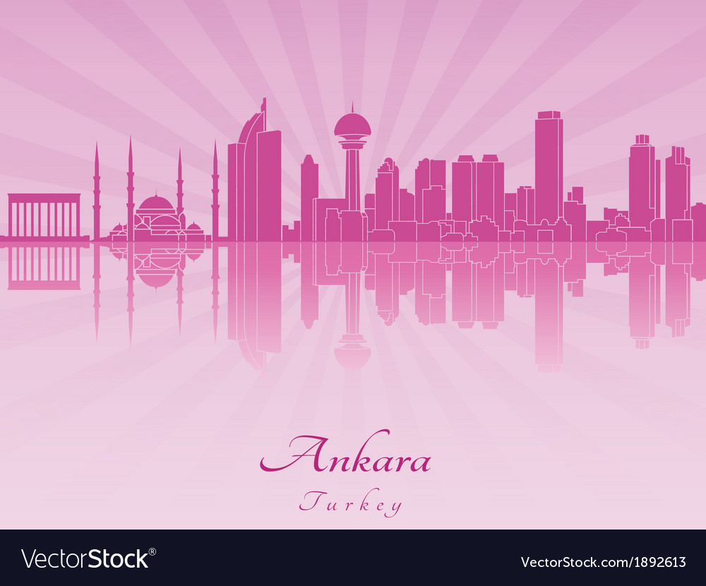 Ankara skyline in purple radiant orchid vector | Price: 1 Credit (USD $1)