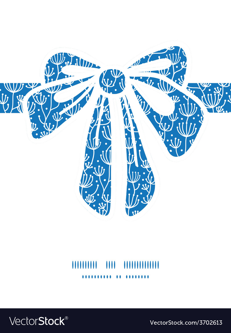 Blue white lineart plants gift bow vector | Price: 1 Credit (USD $1)