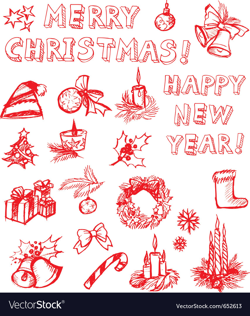 Christmas freehand design elements vector | Price: 1 Credit (USD $1)