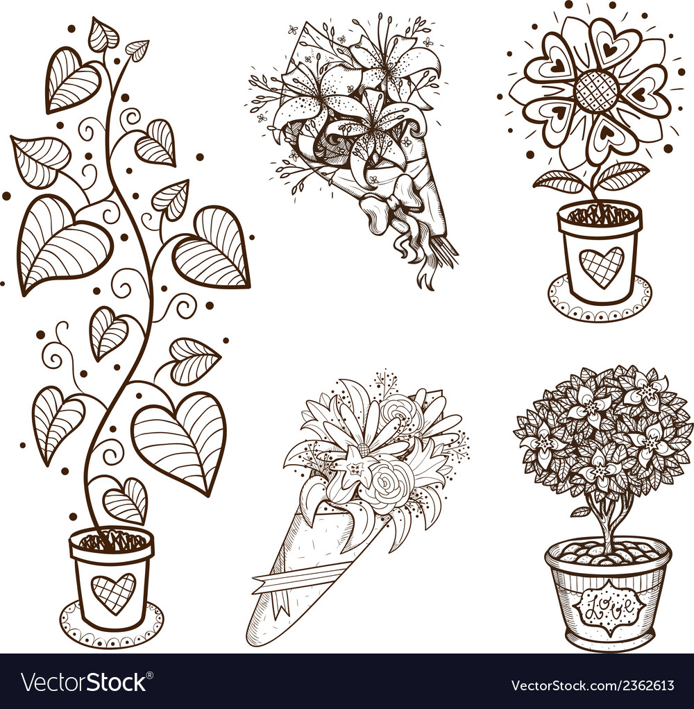 Decorative flowers collection vector | Price: 1 Credit (USD $1)