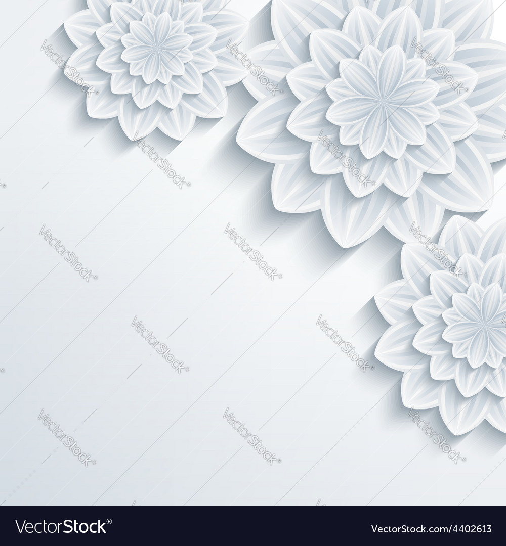 Floral romantic background with 3d flower vector | Price: 1 Credit (USD $1)