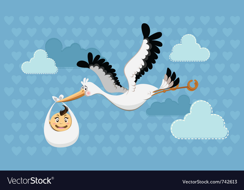 Flying stork delivery vector | Price: 3 Credit (USD $3)