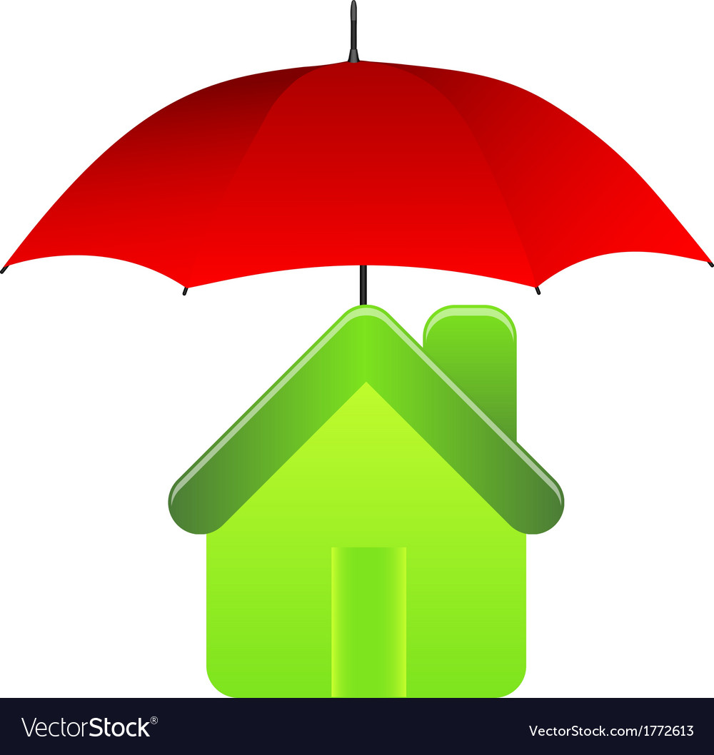 Green house under red umbrella insurance concept vector | Price: 1 Credit (USD $1)