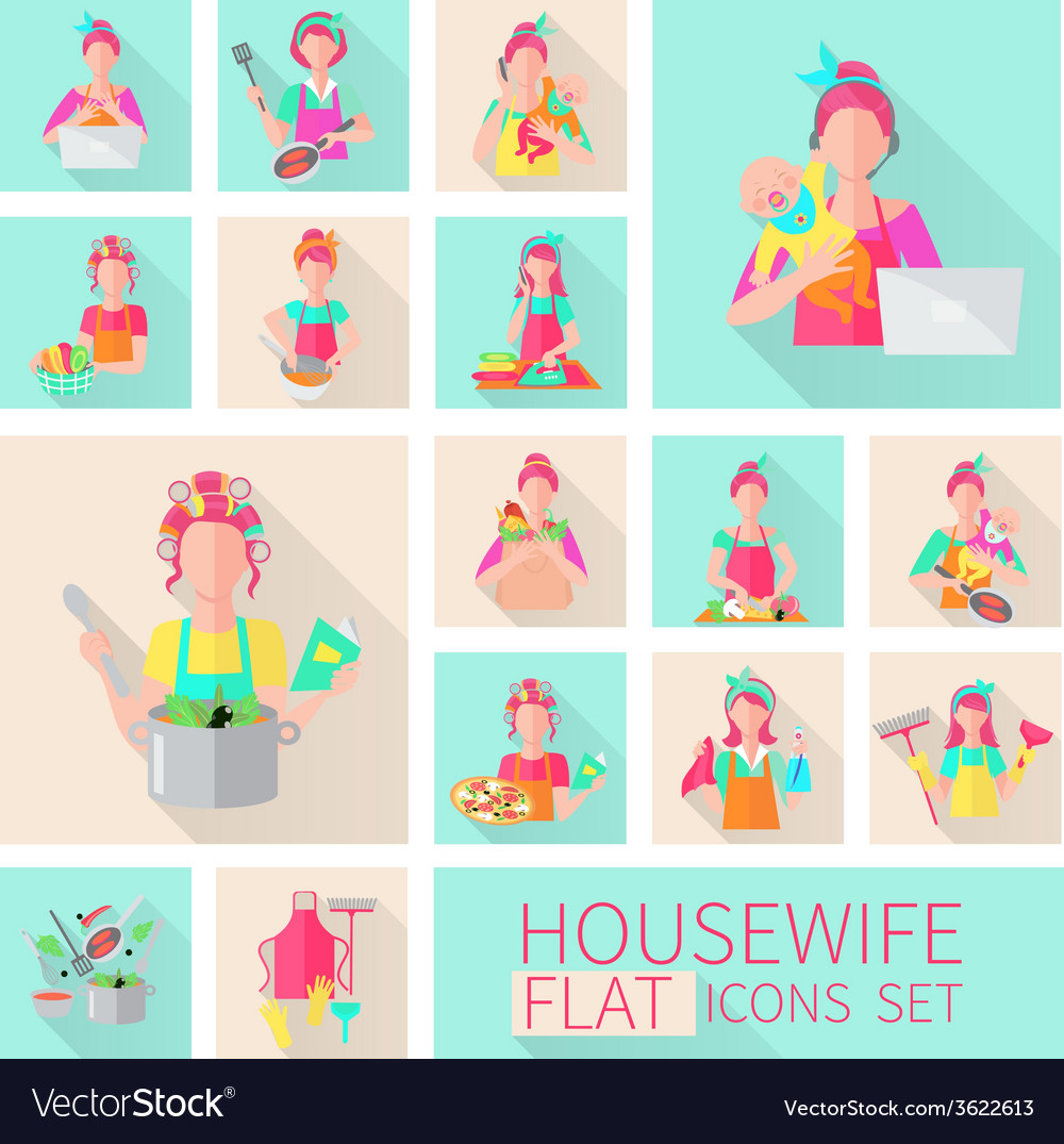 Housewife flat set vector | Price: 1 Credit (USD $1)