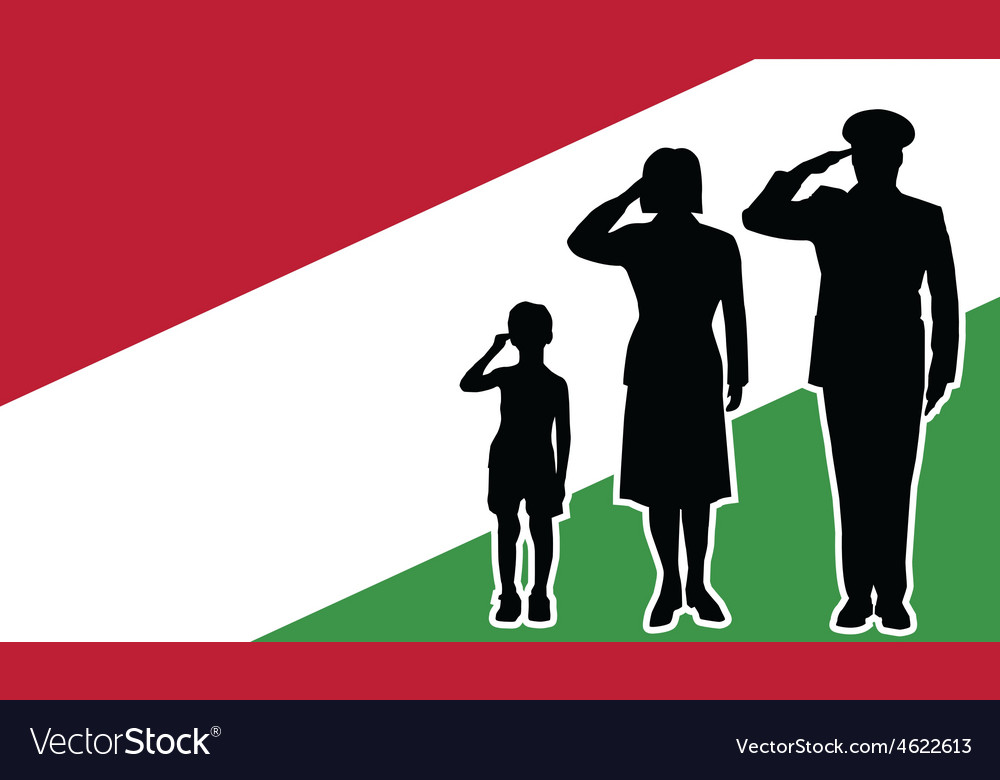 Hungary soldier family salute vector | Price: 1 Credit (USD $1)