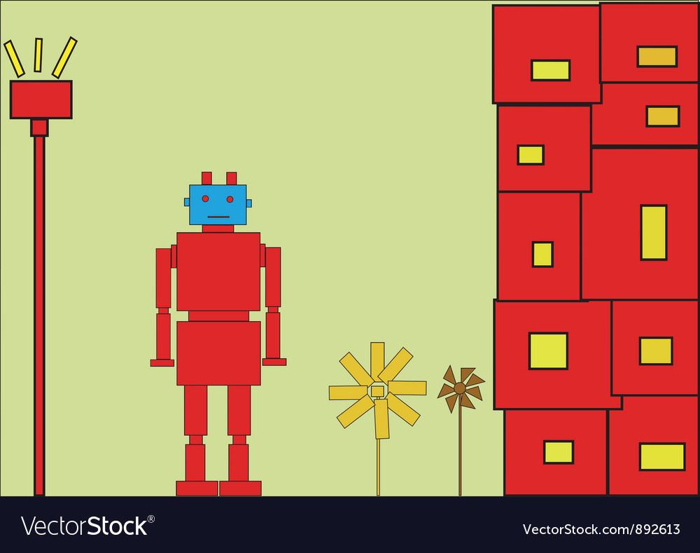 Retro red robot vector | Price: 1 Credit (USD $1)