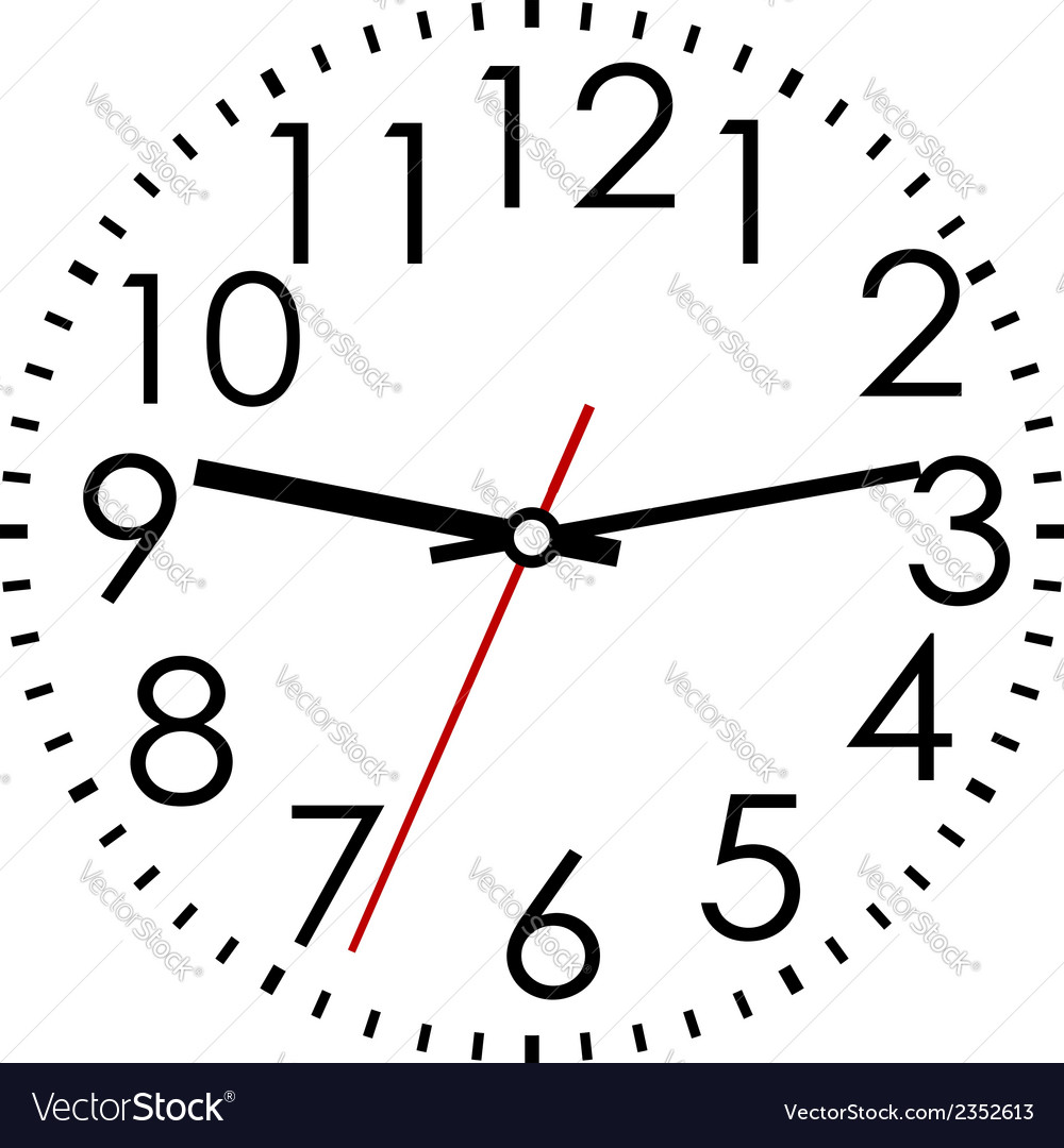 Round clock face with arabic numerals vector | Price: 1 Credit (USD $1)