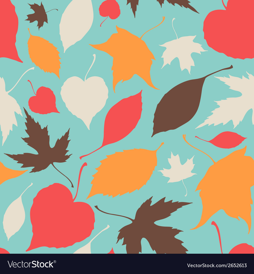Seamless pattern with stylized silhouette leaves vector | Price: 1 Credit (USD $1)