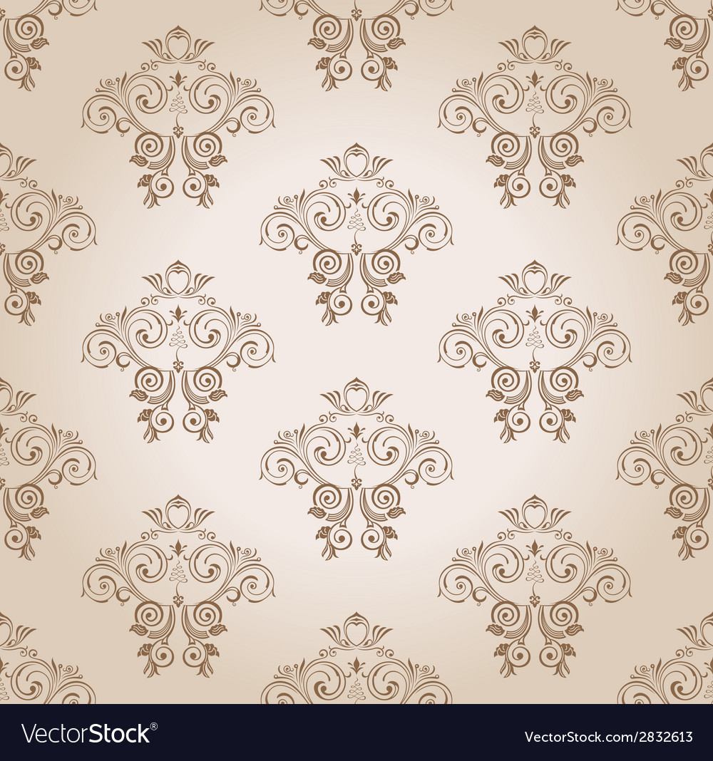 Seamless wallpaper curves vintage background vector | Price: 1 Credit (USD $1)