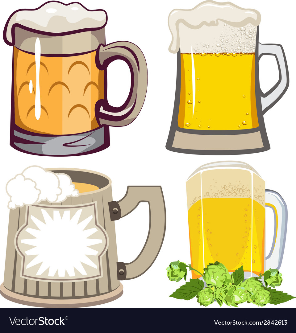 Set of beer mugs vector | Price: 1 Credit (USD $1)
