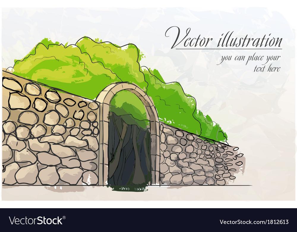 Stone wall in a garden watercolor imitation vector | Price: 1 Credit (USD $1)