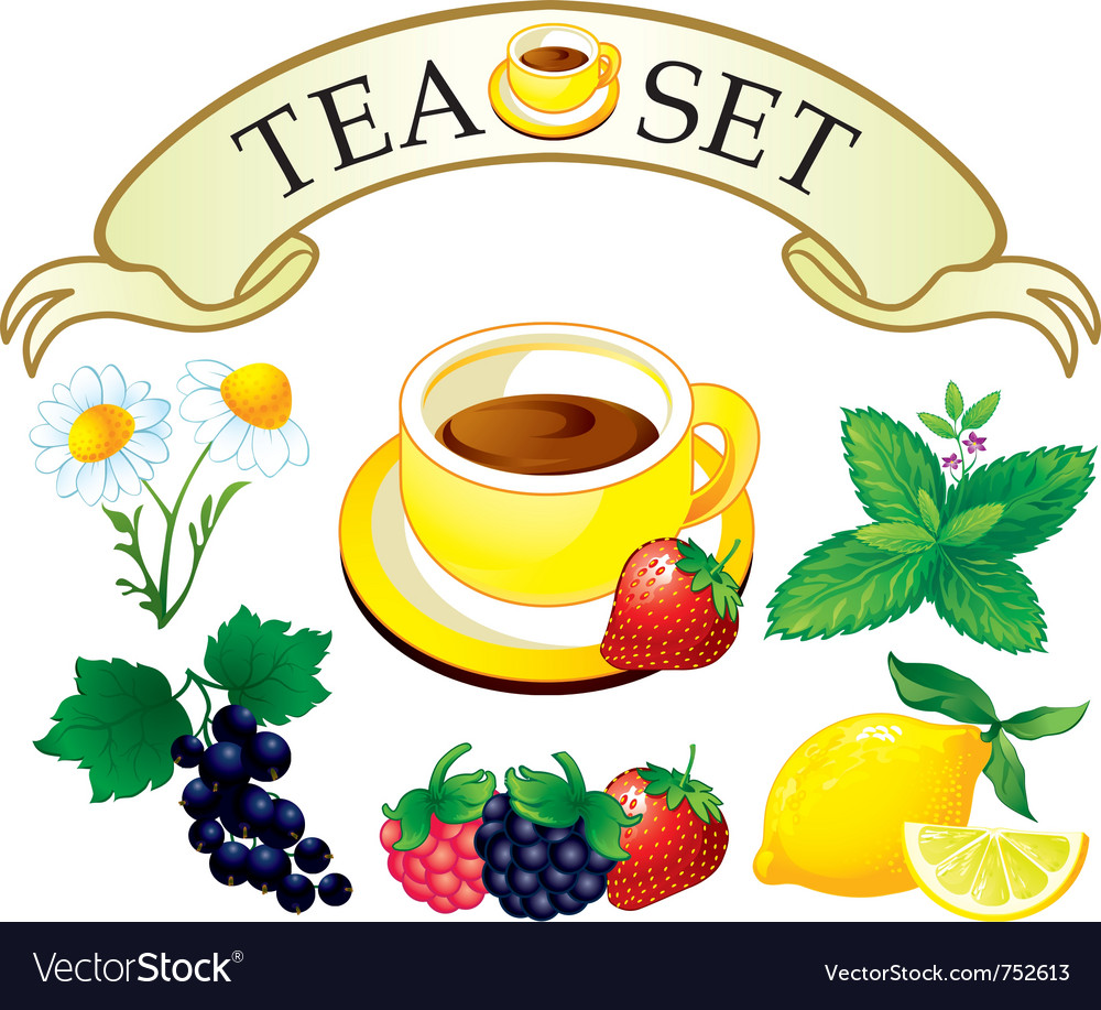 Tea set aromatic plants vector | Price: 3 Credit (USD $3)