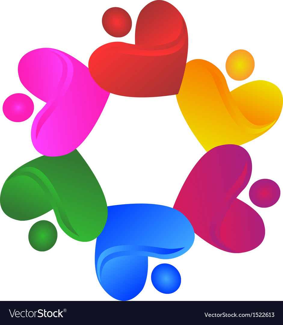 Teamwork charity hearts logo vector | Price: 1 Credit (USD $1)