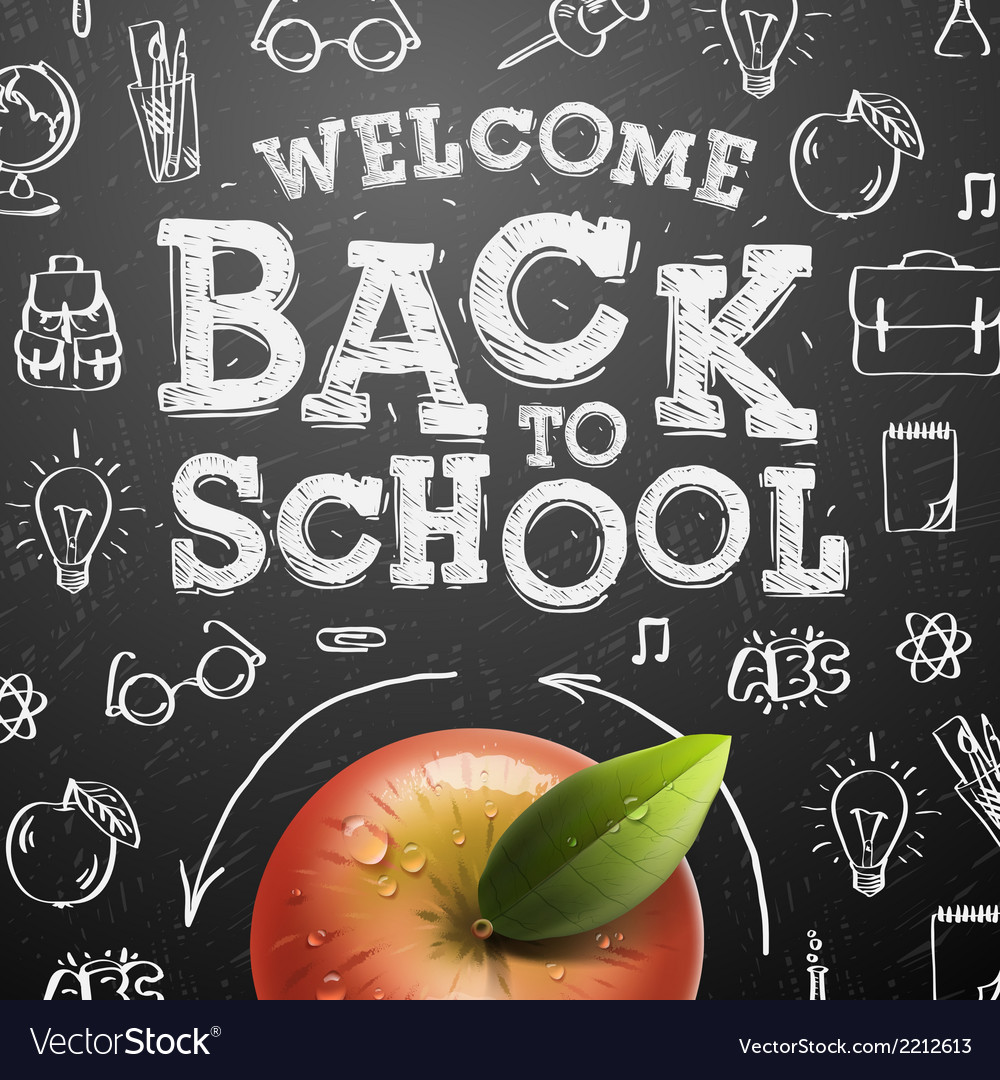 Welcome back to school background with red apple vector | Price: 1 Credit (USD $1)