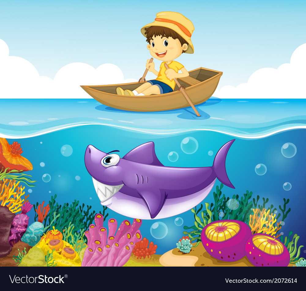 A boy in the ocean with a shark vector | Price: 3 Credit (USD $3)
