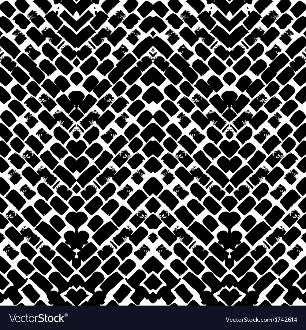 Black and white hand painted zig zag pattern vector | Price: 1 Credit (USD $1)