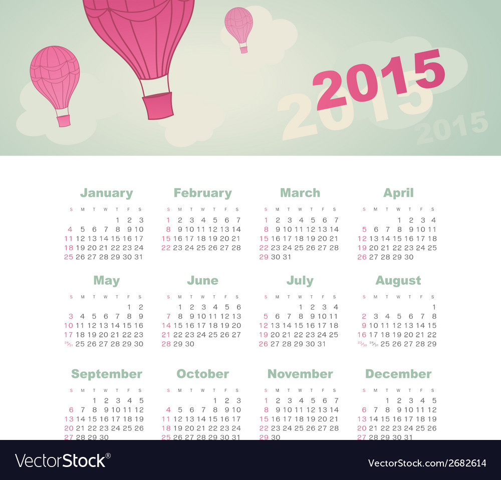 Calendar 2015 year with kite vector | Price: 1 Credit (USD $1)
