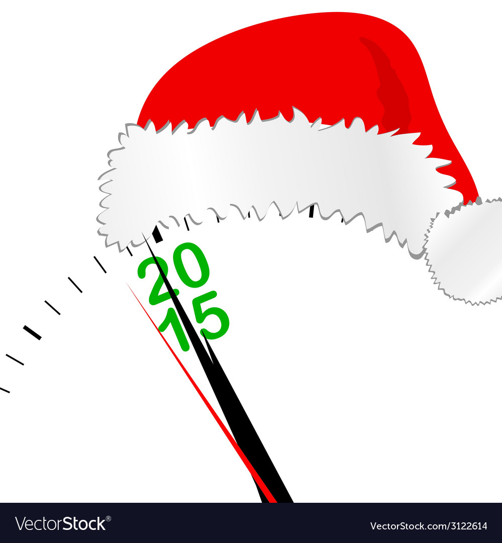 Clock for new year 2015 with hat vector | Price: 1 Credit (USD $1)
