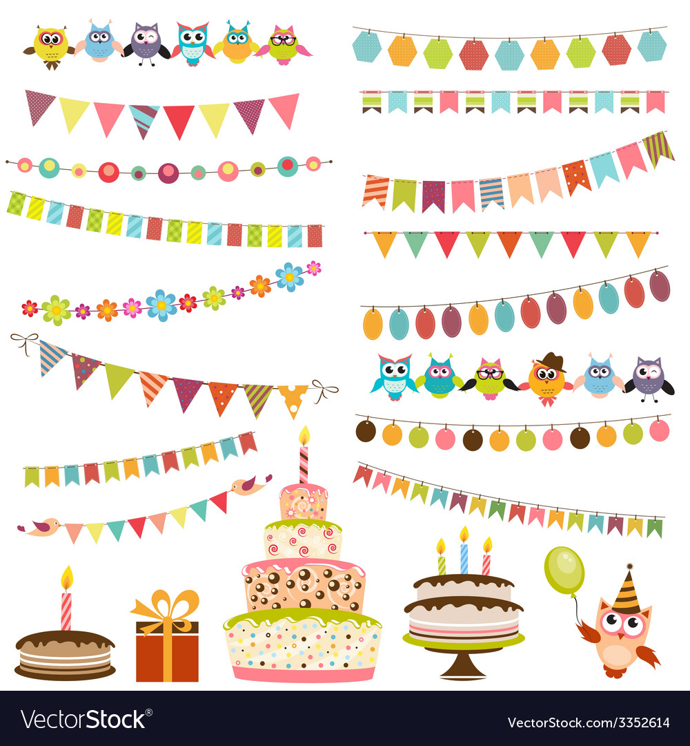 Color birthday bunting set vector | Price: 1 Credit (USD $1)