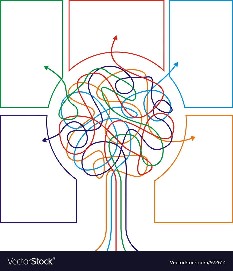 Concept of colorful tree with arrows vector | Price: 1 Credit (USD $1)