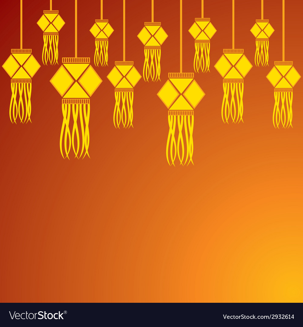 Diwali greeting background with hanging lamps vector | Price: 1 Credit (USD $1)