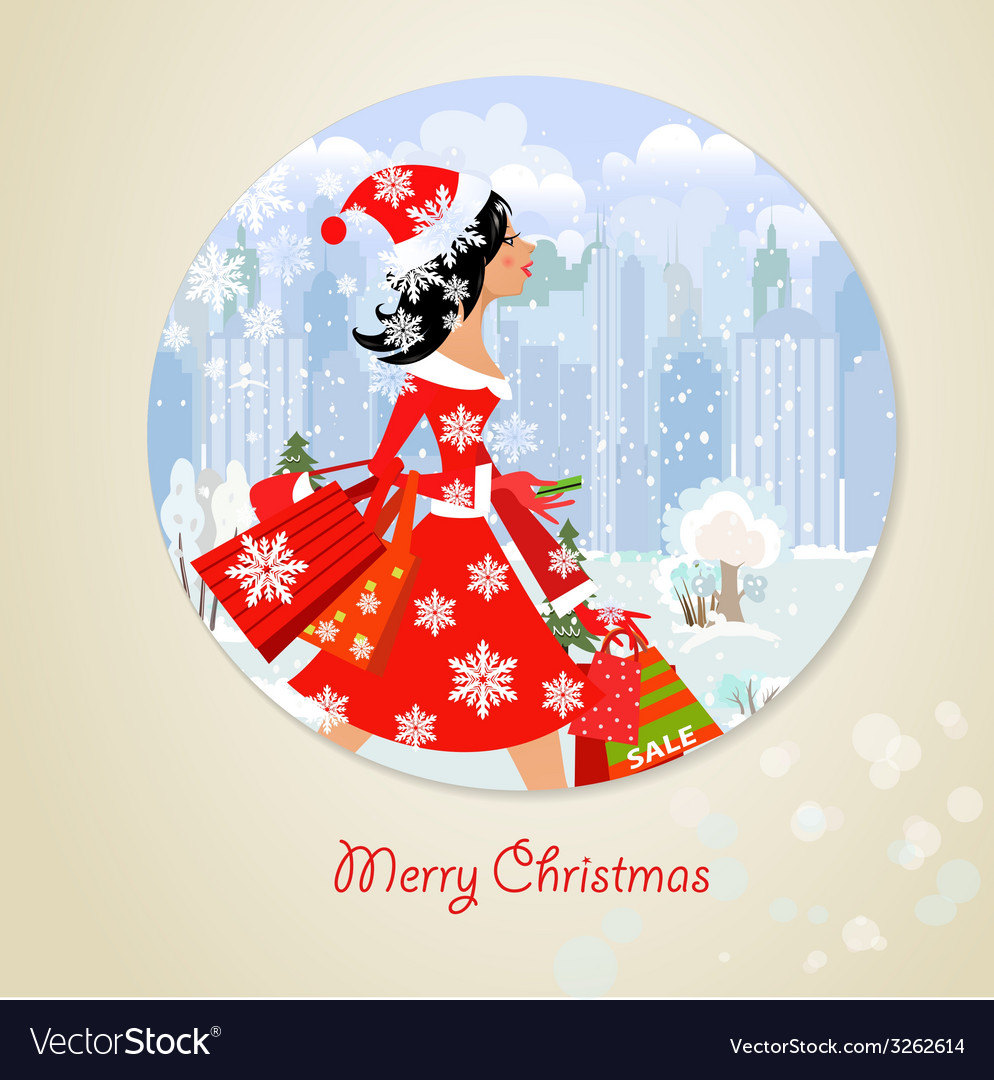 Girl santa with purchase for you design vector | Price: 1 Credit (USD $1)