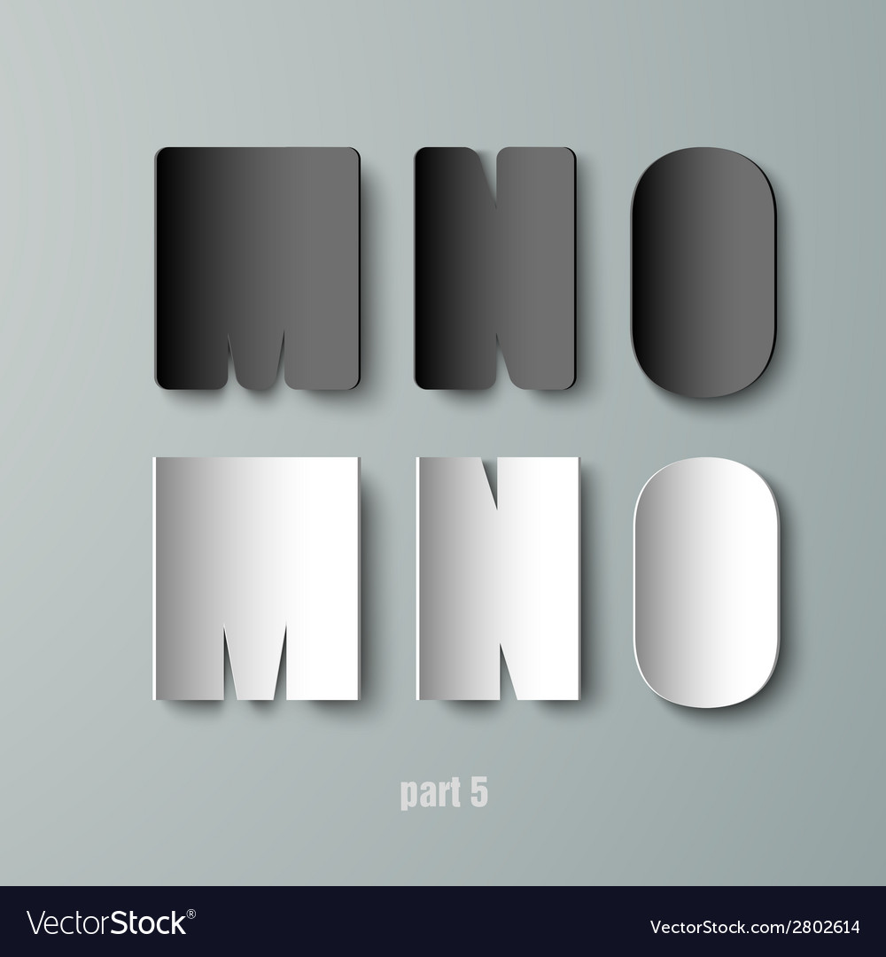 Paper graphic alphabet white and black mno vector | Price: 1 Credit (USD $1)