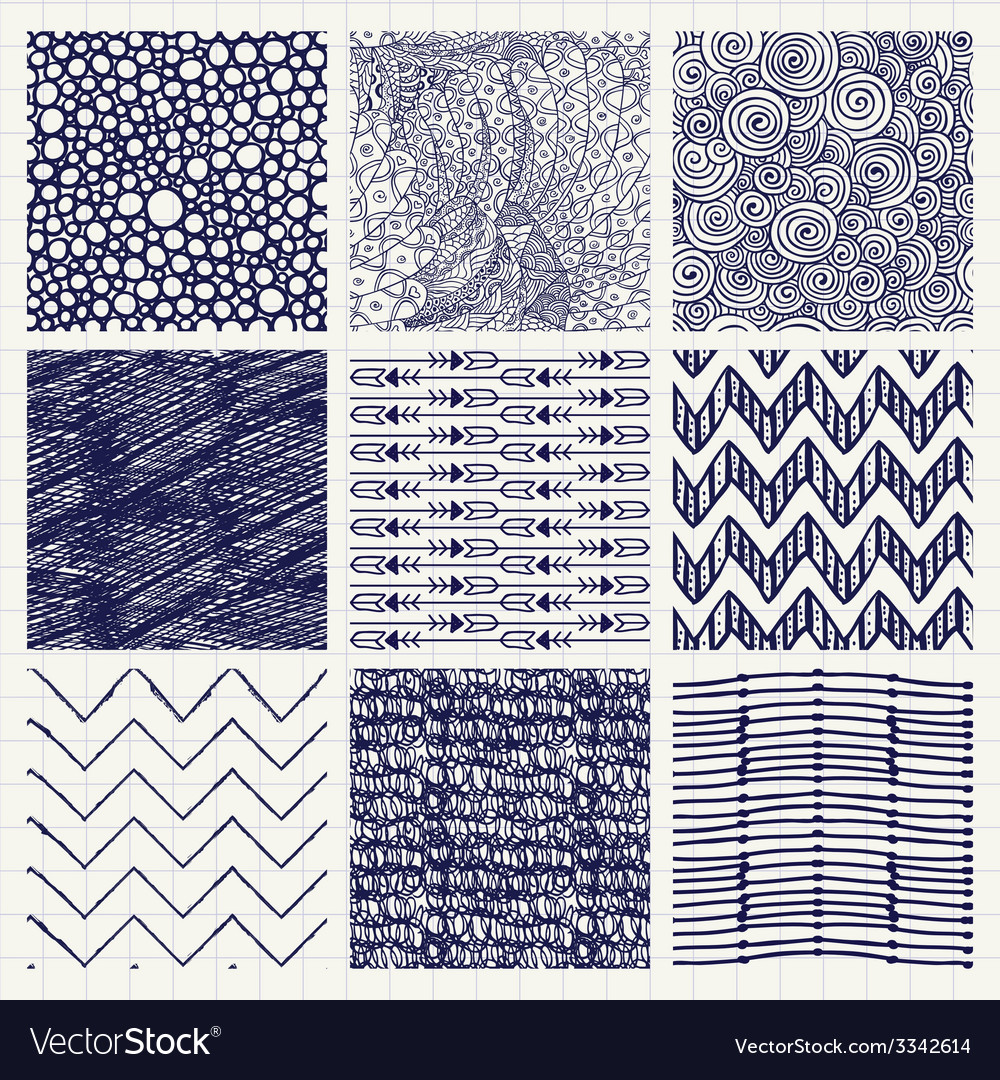 Pen drawing seamless textures vector | Price: 1 Credit (USD $1)