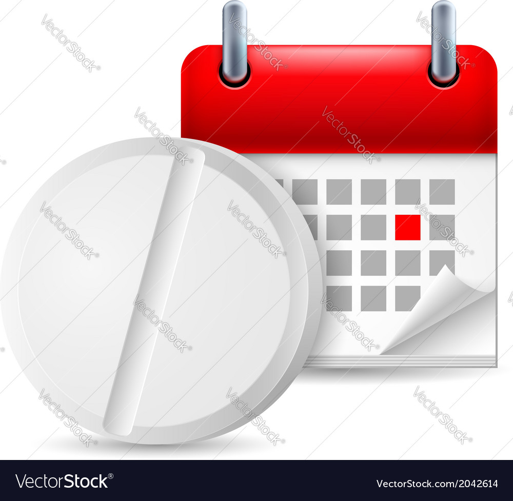 Pill and calendar vector | Price: 1 Credit (USD $1)