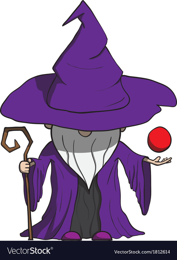 Simple cartoon wizard with staff isolated on white vector | Price: 1 Credit (USD $1)