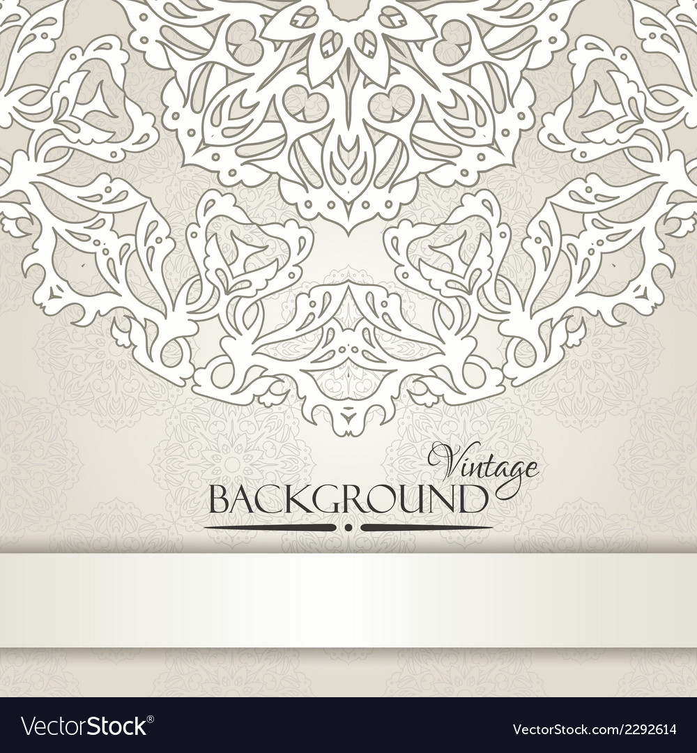 Vintage beige elegant invitation card vector   Price: 1 Credit (USD $1)