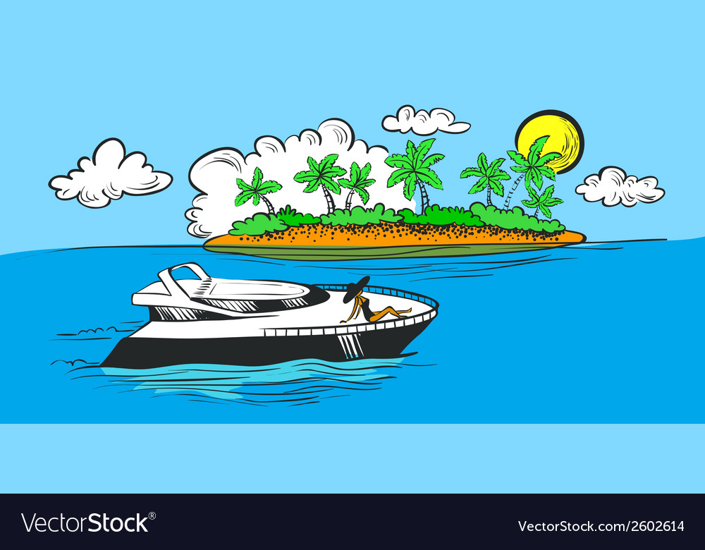 Yacht and island vector | Price: 1 Credit (USD $1)