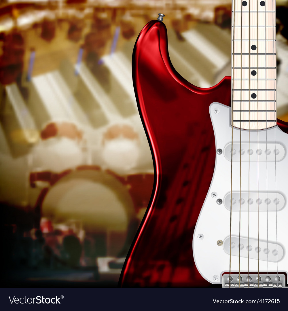 Abstract music background with electric guitar vector | Price: 3 Credit (USD $3)