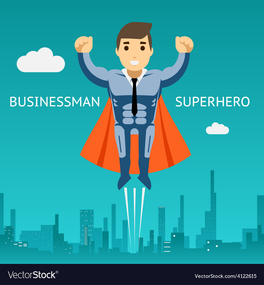 Cartooned superhero businessman graphic design vector | Price: 1 Credit (USD $1)
