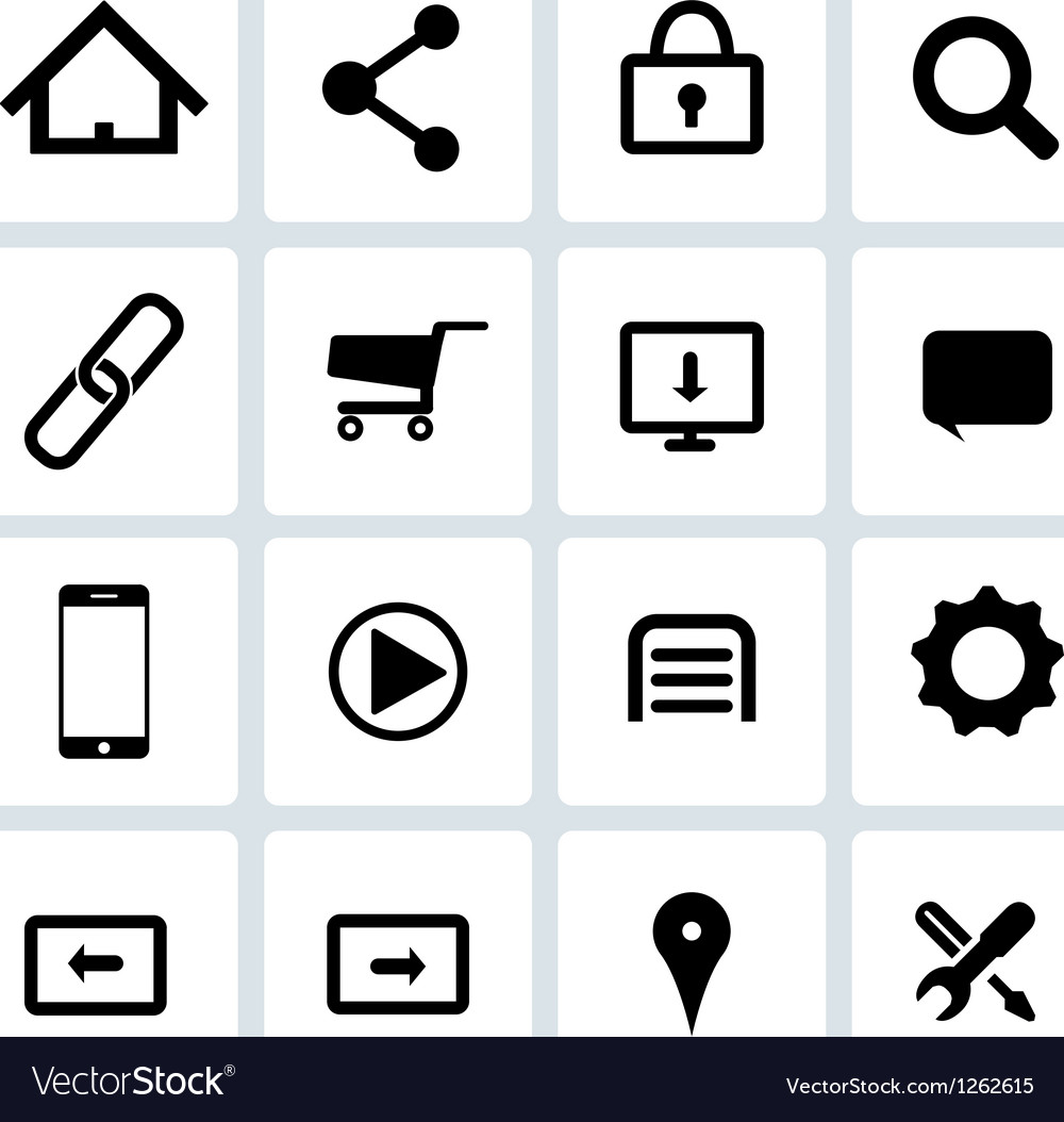 Clean black web icons set vector | Price: 1 Credit (USD $1)