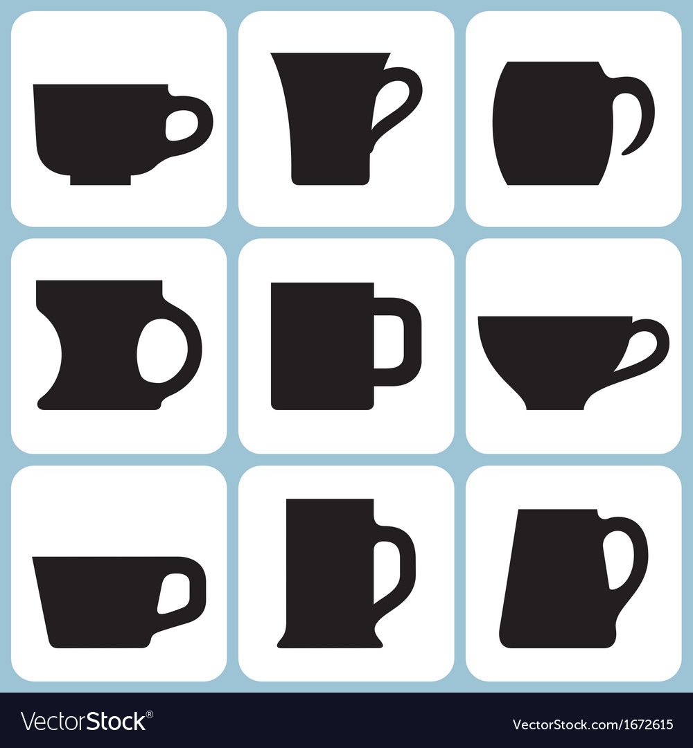 Cup silhouettes set vector | Price: 1 Credit (USD $1)