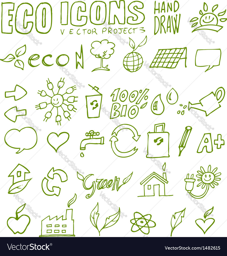 Eco icons hand draw 3 vector | Price: 1 Credit (USD $1)