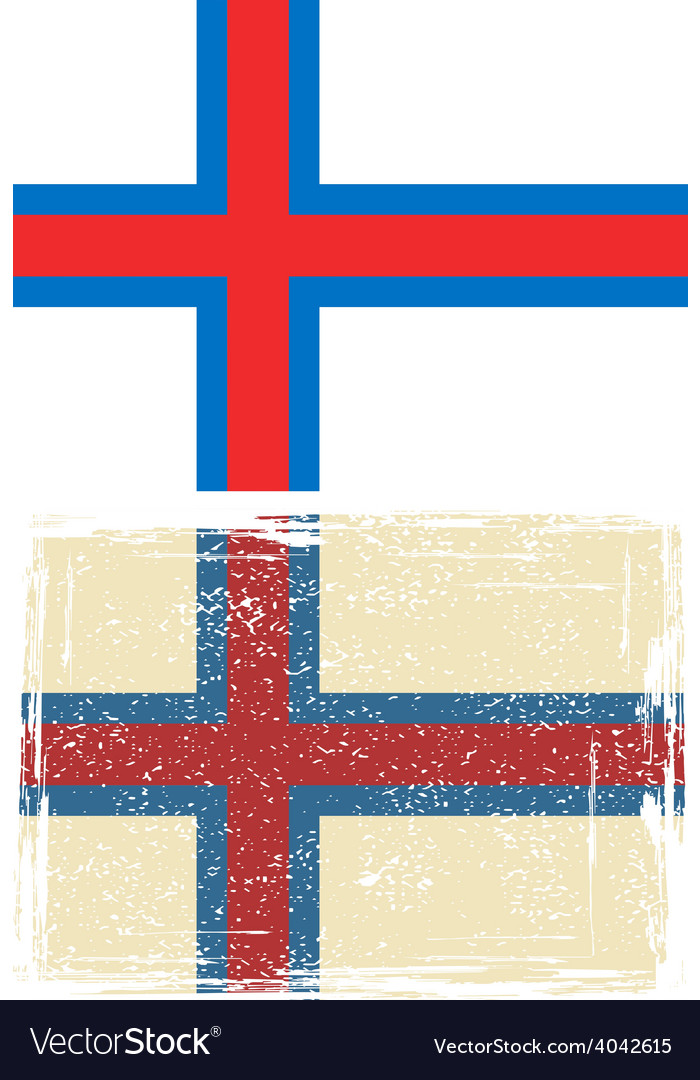 Faroe islands grunge flag vector | Price: 1 Credit (USD $1)