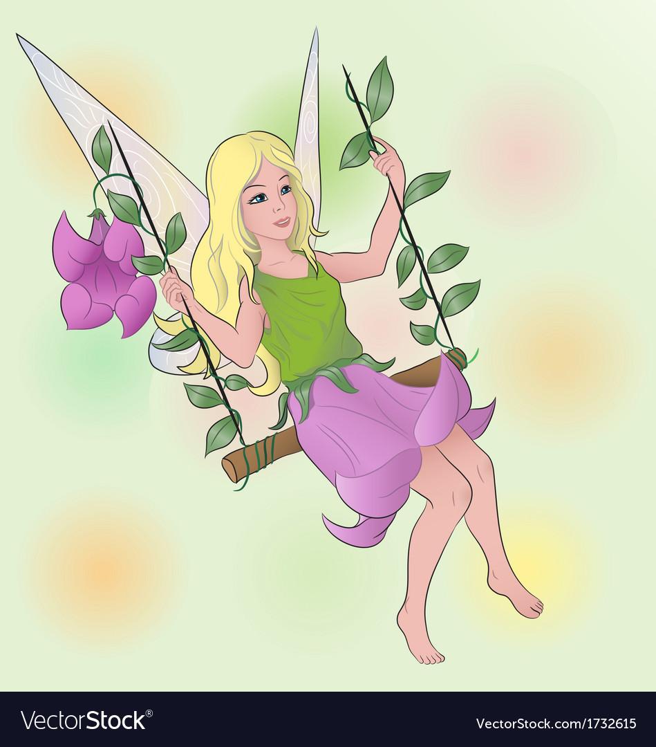 Flower fairy girl on swing vector | Price: 1 Credit (USD $1)