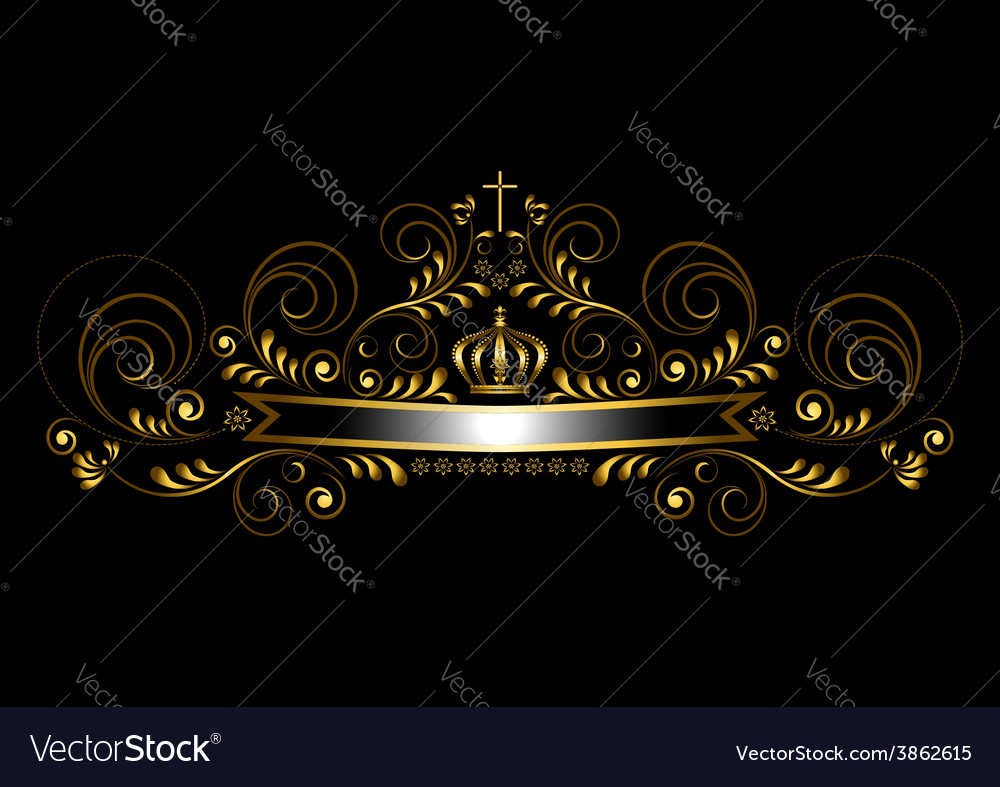 Gold ribbon with a crown and a cross vector | Price: 1 Credit (USD $1)