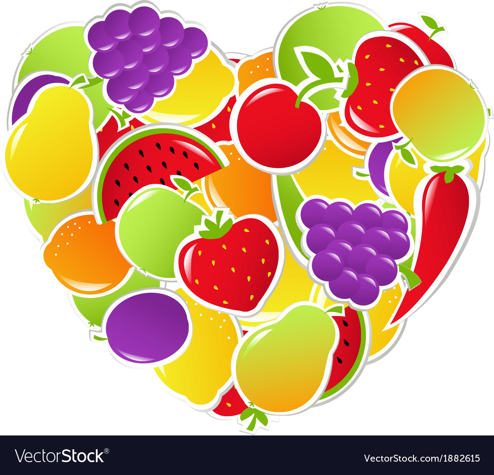 Heart from fruit and vegetables vector | Price: 1 Credit (USD $1)