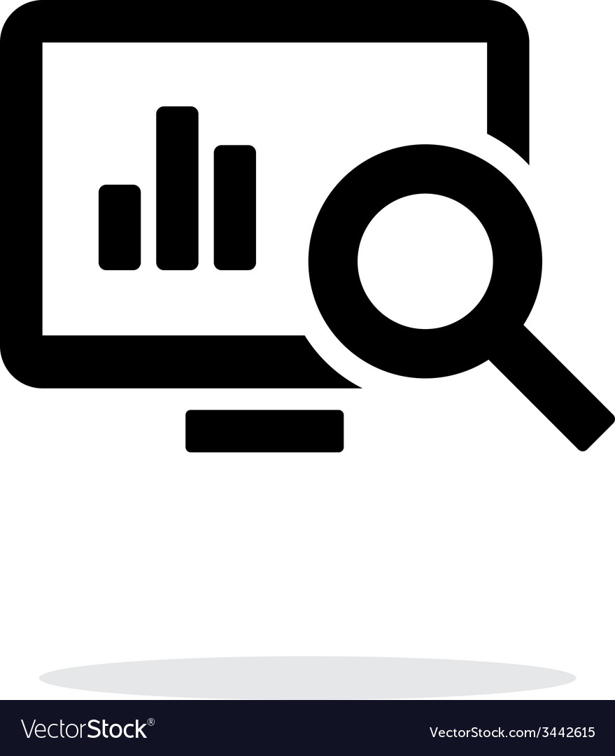Search chart icon on white background vector | Price: 1 Credit (USD $1)