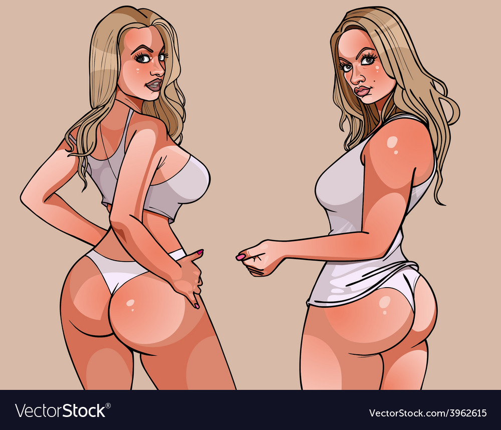 Sexy beautiful young blonde woman in a thong vector | Price: 3 Credit (USD $3)