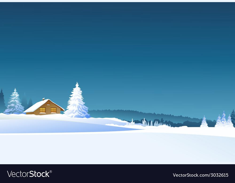 Winter rural landscape vector | Price: 1 Credit (USD $1)